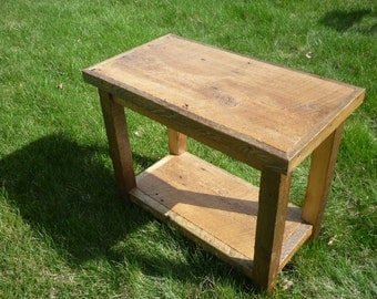 Reclaimed Rough Sawn Barn Wood End Table Made to order