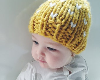 Child's Cosy Fair Isle Beanie - mustard with white accent