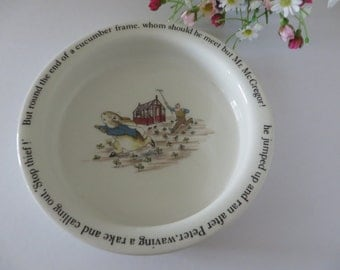 Beatrix Potter vintage 1990's Porringer, Baby bowl, Peter Rabbit porringer, Nursery gift,Beatrix Potter gift, Peter Rabbit keepsake, Newborn