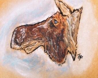 Large Moleskine journal (large) with moose sketch