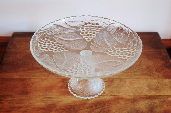 Glass Cake Stand With Grapes Clear Pressed Glass Glass