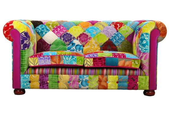Items Similar To Bespoke Patchwork Chesterfield 2 Seater Sofa Designers Guild Fabric On Etsy