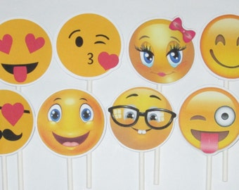 Emoji Cupcake Toppers!! Great for Birthday's Parties, Weddings and Holiday's-24 pieces