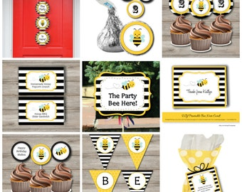 Bumble Bee Party Kit to Print at Home, Bumblebee Birthday Party Package to Print, DIY Printable Bumblebee Party Kit, Bumblebee Party Package