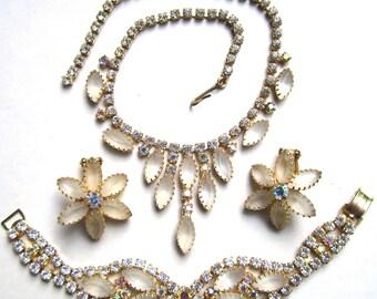 Vintage Juliana Faceted Rhinestone AB Necklace Bracelet Earrings Set~ Mint!