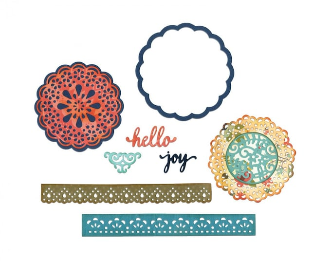 New! Sizzix Thinlits Die Set 7PK - Hello Doily by Lori Whitlock