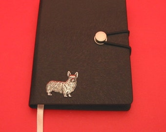 Corgi Dog Hand Cast Pewter Motif on A6 Black Journal Christmas Gift Dog Notebook