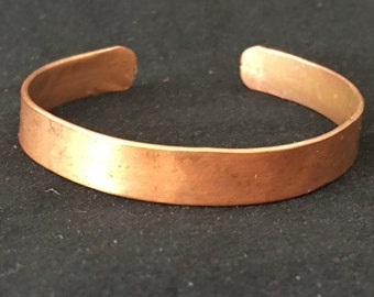 Vintage Plain Copper Cuff Bracelet, Distressed Metal Bracelet, Industrial Bar Cuff, Simple Solid Copper Blank Bracelet, Brushed Finish