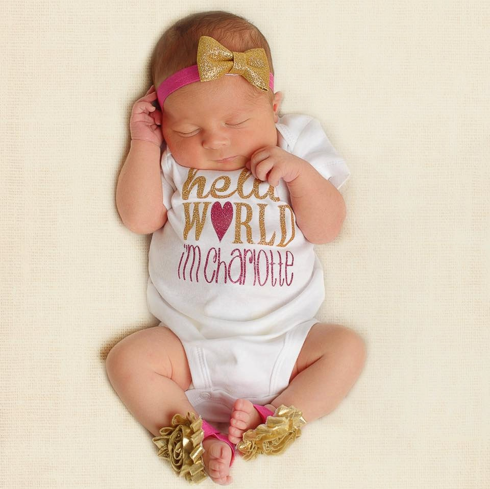 Hello World: Baby Shower Gift Hello World Personalized Bodysuit With