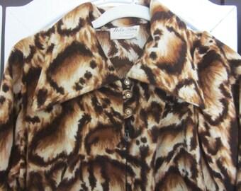 """1960s Animal Print Velour Jumpsuit by """"Dela-Ann,"""" Size S - M"""