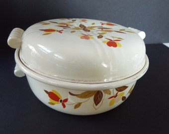 Hall's pottery  Autumn leaf casserole with lid 2 qt. Jewel Tea Retro kitchen Kitsch tooties handles
