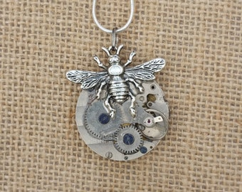 Steampunk Bee Necklace, Vintage Pocket Watch Movement Necklace, Bee Pendant