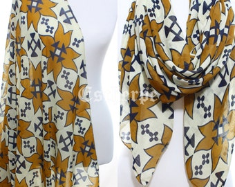 Mustard Navy Art Printed Scarf Winter Accessories Women Accessories Fall Shawl Women Winter Fashion Christmas Gift Ideas For Her