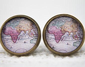 Ancient Map Earrings, Antique Map Earrings, World Map Earrings, Vintage Map Earrings, Stud Earrings, Post Earrings, Glass Dome Earrings