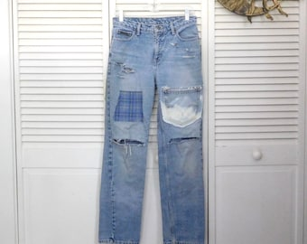 """Bell Bottoms Patched Worked Denim Jeans Blue Upcycled Back Patch 34"""" Waist Size 6 Frayed Destroyed Hippie Grunge Punk Rock Dirt USA OOAK"""
