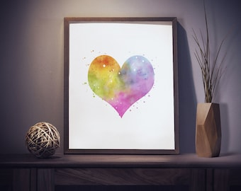 Watercolor Heart Print - Heart Art - Heart Watercolor Art - Nursery Decor - Watercolor Wall Art - Colorful Wall Art - Watercolor Prints