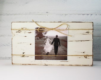 SALE- Shabby Chic Rustic Hand Painted Wood Block Photo Holder- Up-Cycled- Country Decor-Wedding Decor-Wedding Gift-Bride Gift