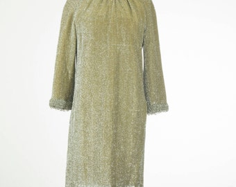 1960's All the diamonds // Beaded Lurex Dress