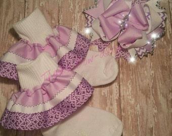 Lavender Ruffle Socks Single Layer Ruffle Socks Purple Ruffle Socks  Dressy Socks Easter Socks Easter Ruffle Socks Purple Boutique Bows
