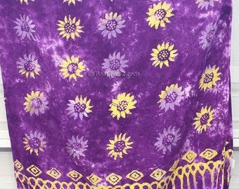SUMMER SALE Sarong Pareo Beach Cover-up Wrap Dress Skirt Hawaiian Bali Flower Purple 3 tones Color + Free Coconut Clasp