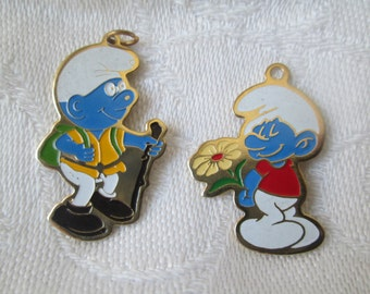 Vintage Smurf Charms, Painted Hiking Smurf and Smurf with Flower
