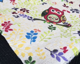 owl#2 pattern Cotton linen Fabric 50*150 cm/half yard