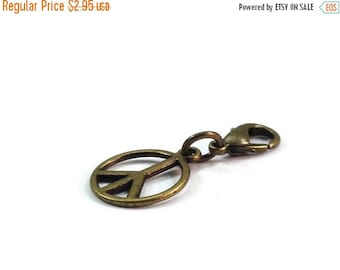 On Sale Peace Sign Zipper Pull Purse Charm Bronze Clip On Charms