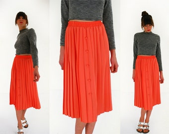 70s pleated skirt coral midi skirt 1970s / 80s pink skirt Girly classic medium UK 10 – 12