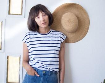 Muscle Tee Tank Top //  Stripy T-shirt // Breton Tee // Muscle Tank // Casual Stripy T // French Girl Breton T-Shirt