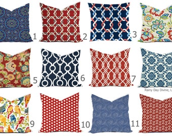 Outdoor Pillows or Indoor Custom Cover - Navy Blue Red Nautical Modern Geometric Tribal Quatrefoil Ikat 18x18, 16x16