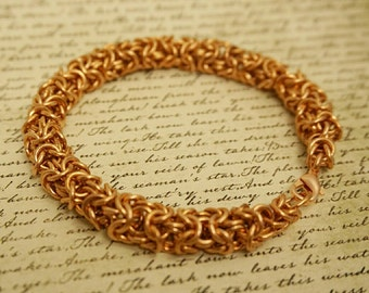 Copper Chainmail Bracelet in Turkish Weave