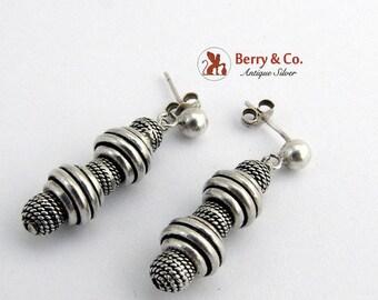 SaLe! sALe! Modernist Dangle Drop Bead Earrings Sterling Silver