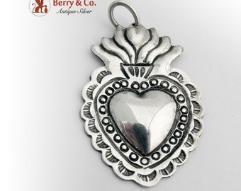 Figural Heart And Fire Pendant Sterling Silver