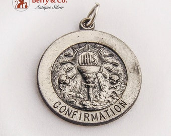 Confirmation Medallion Pendant Sterling Silver