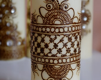 Henna Candle/ Mehndi Candle/ Henna Design/ Henna Decor Candle/ Decoration Candle/ Ready to ship