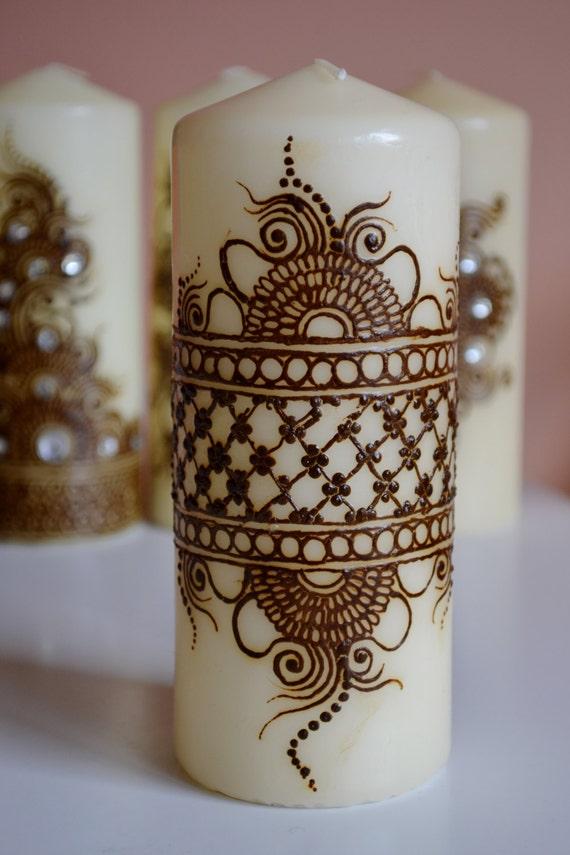 Mehndi Henna Candles : Henna candle mehndi design decor