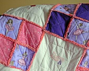 Themed Minky Rag Quilt - Ballet Themed Quilt - Minky Rag Quilt - Embroidered Rag Quilt - Girl's Minky Quilt - Girl's Minky Rag Quilt