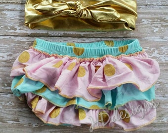 Baby girl blue gold and pink polka dot baby bloomers with matching headband-diaper cover-baby shower gift-photo prop