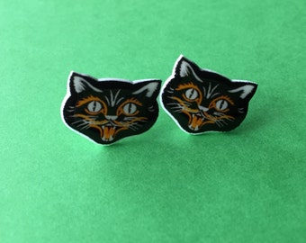 Retro Halloween Black Cat Earrings