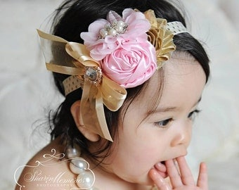 Pink Gold Headband/Shabby Chic Headband/Infant Headband/Baby Headband/Newborn Headband/Toddler Headband/Girls Headband/Birthday Headband