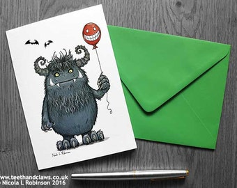 Monster Card, Monster Birthday Card, Card for Kids, Cute Monster, Thank you Card, Gothic card, Blank Card, Monster Party Invitation