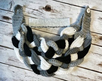 Scarf. Braided cowl. Braided scarf. Crochet braided cowl. Crochet braided cowl. Black braided cowl. Handmade cowl. Gray braided scarf.