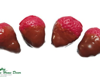 Chocolate Dipped Strawberry Shaped Soy Wax Melts. 4-pack. Romantic  gift.