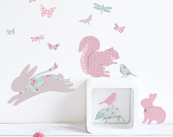 Mini Vintage floral Woodland fabric wall stickers