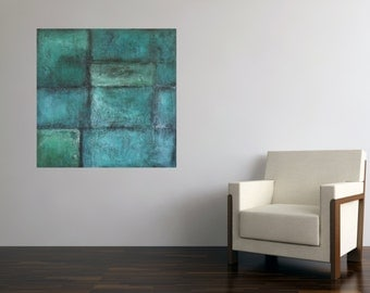original acrylic painting blue aqua turquoise green copper patina squares rectangles Leah Fitts