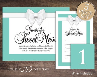 Instant Download Aqua Candy Bar Baby Shower Game, Aqua White Bow Dirty Diaper Game, Gender Neutral Baby Shower Guess the Sweet Mess Game 53A