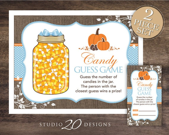 items similar to instant download blue pumpkin candy guessing game baby shower candy guess game. Black Bedroom Furniture Sets. Home Design Ideas