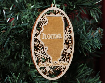 Engraved Illinois Wood Christmas Ornament