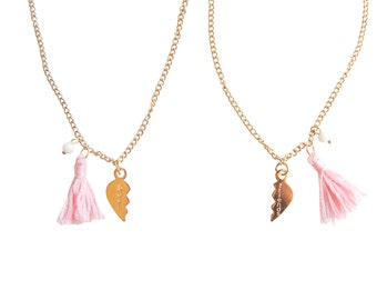 BFF Necklace, Best Friend Necklaces, Tassel Necklace, Word Necklace