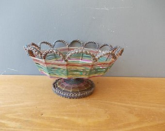 Vintage braided fruit bowl / Handmade vessel /  Woven basin / Made in USSR 1970s